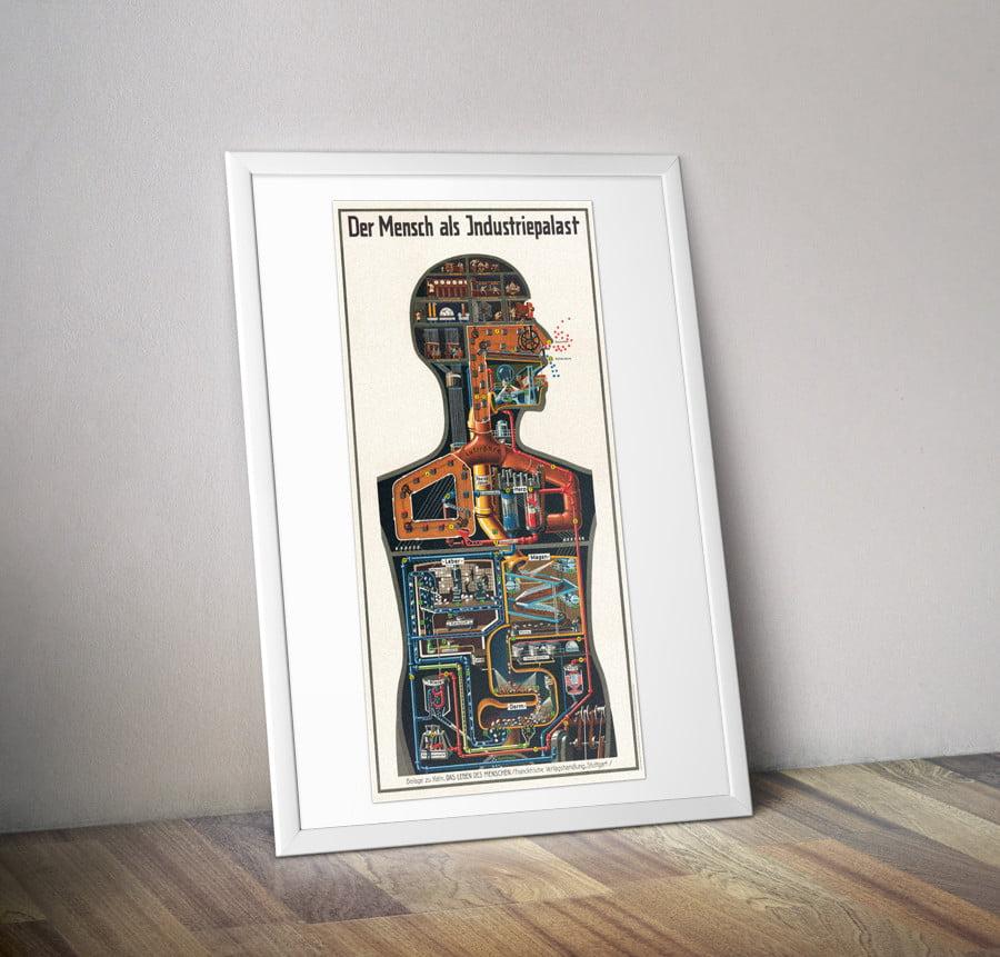 Der Mensch als Industriepalast Plakat Werkstoff Original